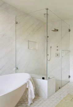 If you want to make a statement by hanging a flush mount over your bathroom vanity, well, you can absolutely do that, too — it's the beauty of this kind of lighting fixture. #hunkerhome #flushmount #flushmountlighting #bathroomlightingideas Tile Shower Niche, Master Bathroom Shower, Shower Walls, Attic Bathroom, Master Bath Remodel, Transitional Bathroom, Bathroom Colors, Walk In Shower, Interior Design Studio