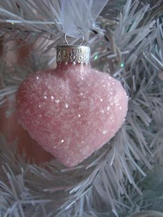 Pink Glass Heart Ornament
