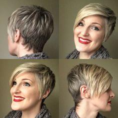 Short hair. Pixie. Blonde highlights.