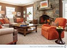 burnt orange and brown living room ideas home design Brown Leather Sofa Living Room, Grey And Brown Living Room, Leather Living Room Furniture, Living Room Orange, Brown Sofa, Bedroom Furniture, Furniture Design, Living Room Color Schemes, Living Room Colors