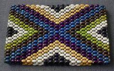 Vintage 30's Czech Art Deco Coloured Wood Beads Zippered Clucth Purse