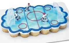 hockey cake topper set with cupcakes