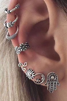 Antiqued Silver Boho Ear Piercing Ideas at MyBodiArt.com - Flower Ear Cuff - Moon Earring - Sun Stud #Piercings #beautyfashion