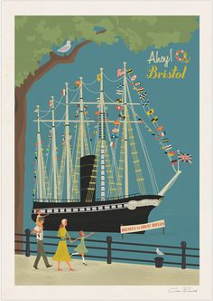 Print of Brunel's SS. Great Britain, as seen from the harbourside, Bristol in vintage/retro style. Vintage Travel, Retro Vintage, Bristol Harbourside, See Picture, All Print, Great Britain, Travel Posters, Fine Art Paper, Giclee Print