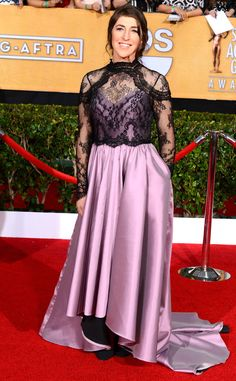 Mayim Bialik from Worst Dressed Stars at the 2014 SAG Awards | E! Online - I've actually seen her in worse.