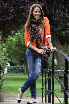 Orange blazer with leopard scarf