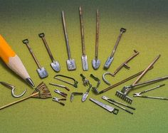 Looking for an array of tools for a quarter scale scene? This highly detailed, 23-piece garden tool set kit contains every tool in the shed! Miniture Things, Miniature Food, Miniature Dolls, Diy Dollhouse, Dollhouse Miniatures, Hose Holder, Power Tool Set, Mini Things, Garden Tool Set