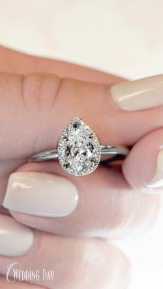 Pear Cut Diamond Halo Engagement Ring in White Gold Best Engagement Rings, Halo Diamond Engagement Ring, Pear Diamond Rings, Diamond Cuts, Beast, Jewelry Accessories, Wedding Day, White Gold, Earrings