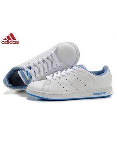 online store 0b95c 24ea5 Adidas Stan Smith Blanche Lumière Bleu Chaussures