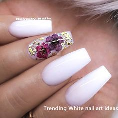 REPOST - - - - White Coffin Nails with Dried Flowers and Glitter - - - - Picture and Nail Design by White Nail Designs, Nail Designs Spring, Nail Art Designs, Nails Design, White Coffin Nails, White Nails, White Glitter, Nail Art Fleur, Nails Kylie Jenner