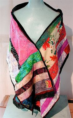 Velvet SHAWL Cape Crazy Quilt Upcycled & Altered Salvage Fabric mybonny