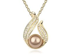 Champagne Pearl & Crystal Necklace Pendant Women Jewelry Gold Plated Mother Birthday Christmas Necklace Bijoux Girlfriend Gifts