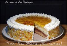 Tarta San Marcos (Sin lactosa), riquísimo bizcocho mojado con almíbar y relleno de nata y trufa y con una deliciosa crema de yema tostada por la parte de arriba, esta tarta hará las delicias de toda la familia y además sin lactosa para que todos puedan disfrutarla!!!!  Receta en mi Blog: http://lacocinadelolidominguez.blogspot.com.es/2015/08/tarta-san-marcos-sin-lactosa.html Videoreceta en You Tube: https://www.youtube.com/watch?v=5mXFwA-l0qY