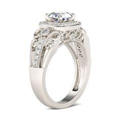 Halo Milgrain Round Cut Created White Sapphire Rhodium Plating Sterling Silver Women's Ring