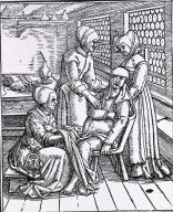 Image of three midwives attending to a birthing woman from the History of Medicine (NLM) #birth #history #midwifery