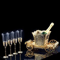 """Набор для шампанского """"Великолепный век"""". Уникальные работы мастеров г.Златоуст"""