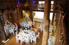 Wedding breakfast in the Mill Barn at www.gaynespark.co.uk Photographer Duncan Kerridge