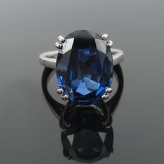 Rare 15.29ct Natural Untreated Intense Blue Sapphire 18K Gold Ring Size 7.25