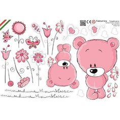 Maci virágokkal, pink baba falmatrica, bocs