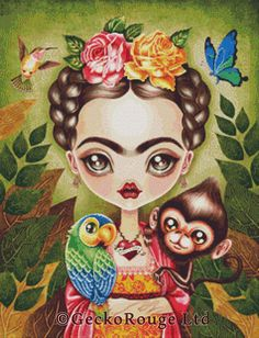 0 point de croix by geckorouge - cross stitch frida kahlo