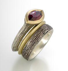 susan barth, art jewelry ring, contemporary ring, garnet ring