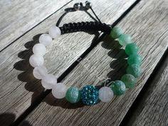 Yin Yang Cracked Green Agate and Matte Rose Quartz Shamballa Bracelet