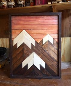 Mountain Wood ArtMountain RangeModern Wood ArtWood Wall