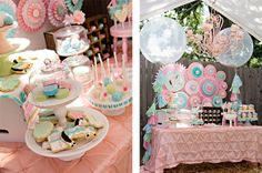 Pink & Aqua Vintage Pony Soiree by Whimsically Detailed.  Such a sweet, vintage party for a little girl.  Love that dessert table backdrop!