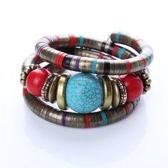 Jewelry Tibetan Silver Bracelet Turquoise Inlay Roundness Bead Adjust Bangle