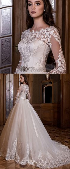 Graceful Tulle Jewel Neckline A-line Wedding Dress With Lace Appliques & Beadings & Belt