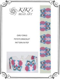 Peyote Pattern for bracelet - Girly owls peyote bracelet pattern in PDF instant download