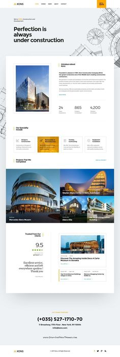 Kons is clean and modern design PSD template for #architects, #construction and building services website with 18+ layered PSD pages to live preview & download click on Visit  #webdesigns