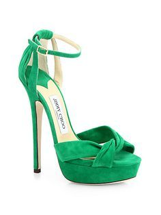 Shop for Greta Suede Ankle-Strap Platform Sandals by Jimmy Choo at ShopStyle. Cute Shoes, Me Too Shoes, Stiletto Heels, High Heels, Shoe Boots, Shoes Heels, Pumps, Jimmy Choo Shoes, Green Shoes