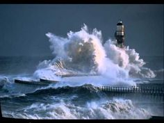lighthouse at Roker Pier, Sunderland, England, had 60 mph winds. Sunderland England, Weather Storm, Huge Waves, House On The Rock, Crashing Waves, Extreme Weather, Places To Visit, Around The Worlds, Outdoor