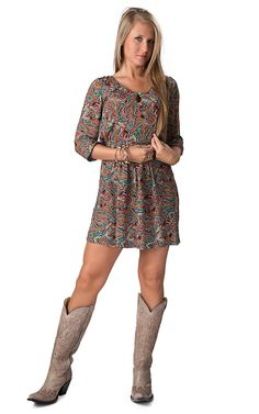 Costa Blanca® Women's Multicolor Paisley Print 3/4 Sleeve Chiffon Dress