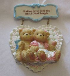 """2 Cherished Teddies from 2000 with """"Nothing Says I Love You Like a Good Snuggle"""""""