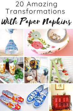 Amazing Transformations With Paper Napkins - Salvaged Living See the most amazing transformations with paper napkins on home decor. Update home decor on a budget with these paper napkin makeover ideas! Napkin Decoupage, Paper Napkins For Decoupage, Decoupage Plates, Decoupage Vintage, Decorative Paper Napkins, Linen Napkins, Papier Diy, Paper Mache Crafts, Amazing Transformations