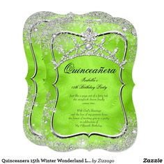 Quinceanera 15th Winter Wonderland Lime Green Card Lime Green Winter Wonderland Snowflakes. Princess Quinceanera 15th Birthday Party. Silver White, Floral Silver Tiara. Silver White Lace frame. Party Princess mis quince Party for women or a girl. Invitation Formal Use for any event invitation Customize to change or add details. Customize with your own details and age. Template for Sweet 16, 16th, Quinceanera 15th, 18th, 20th, 21st, 30th, 40th, 50th, 60th, 70th, 80th, 90, 100th, Fabulous…