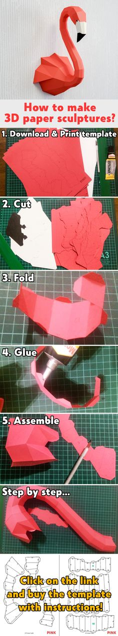 How to make papercraft sculpture DIY home decor project paper craft flaming - Sculpture - Print the sulpture yourself - How to make papercraft sculpture DIY home decor project paper craft flamingo ideas origami paper models kit template store Origami Bird, Origami Paper, 3d Paper Crafts, Diy And Crafts, Diy Home Decor Projects, Projects To Try, Animal Heads, Event Photography, Holidays And Events