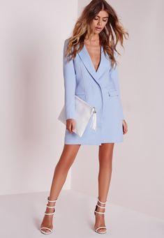 Missguided - Long Sleeve Blazer Dress Blue