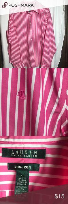 "Ralph Lauren Men's Dress Shirt Ralph Lauren men's pink and white striped dress shirt. Size XL, 100% Cotton. Shoulder to Shoulder: 17"", Arm Pit to Arm Pit: 23"", Length: 26"".  From a Smoke Free Home Ralph Lauren Shirts Dress Shirts"