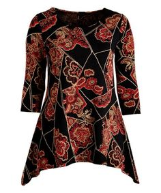 This Black & Red Abstract Sidetail Tunic - Plus is perfect! #zulilyfinds