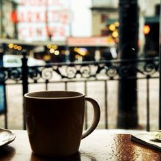 A cup of coffee by Pike Place on a rainy day. You cant say Seattle any better. I Love Coffee, My Coffee, Coffee Shops, Starbucks Coffee, Coffee Break, Morning Coffee, Seattle Coffee, Starbucks Seattle, Hello Seattle