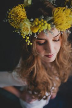 Yellow real flower crown halo