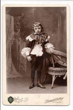 """Superb 1870's Cabinet Card """"Boy in Fine Dress & Bottle Curls"""" Excellent!"""