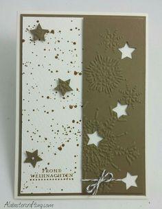 Weihnachtskarte / christmas card Stampin up  Stempelset: Gorgeous Grunge, Kleine Wünsche  Stanzen: Weihnachtsminis  Prägeform: Eiskristall  Accessoires: Kordel Espresso, Basic Perlenschmuck, Aquarellpapier  Farben: Vanille Pur, Wildleder  Stampset: Gorgeous Grunge, Teeny Tiny Wishes  Punches: Merry Minis  Embossing Folder: Northern Flurry  Accessories:Baker's Twine Early Espresso, Pearl Basic Jewels, Watercolor Paper Colours: Very Vanilla, Soft Suede