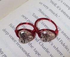 Mom and daughter heart and red ring set by OnTheWireByMaryJane, $15.00