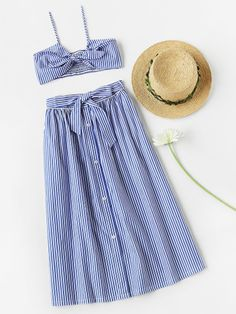 Shop Knot Front Smocked Bralet And Skirt Co-Ord online. SheIn offers Knot Front Smocked Bralet And Skirt Co-Ord & more to fit your fashionable needs. Style Outfits, Layering Outfits, Cool Outfits, Casual Outfits, Girls Fashion Clothes, Girl Fashion, Fashion Outfits, Womens Fashion, Cute Beach Outfits