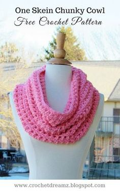 How to Crochet a One Skein Cowl, Free Crochet Chunky Cowl Pattern, Alexa Cowl