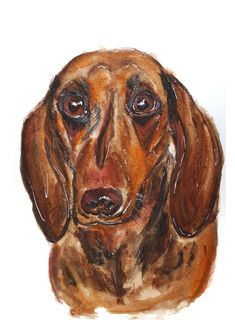 watercolor Dachshund, Watercolor Paintings, Lion Sculpture, Statue, Art, Art Background, Water Colors, Weenie Dogs, Kunst